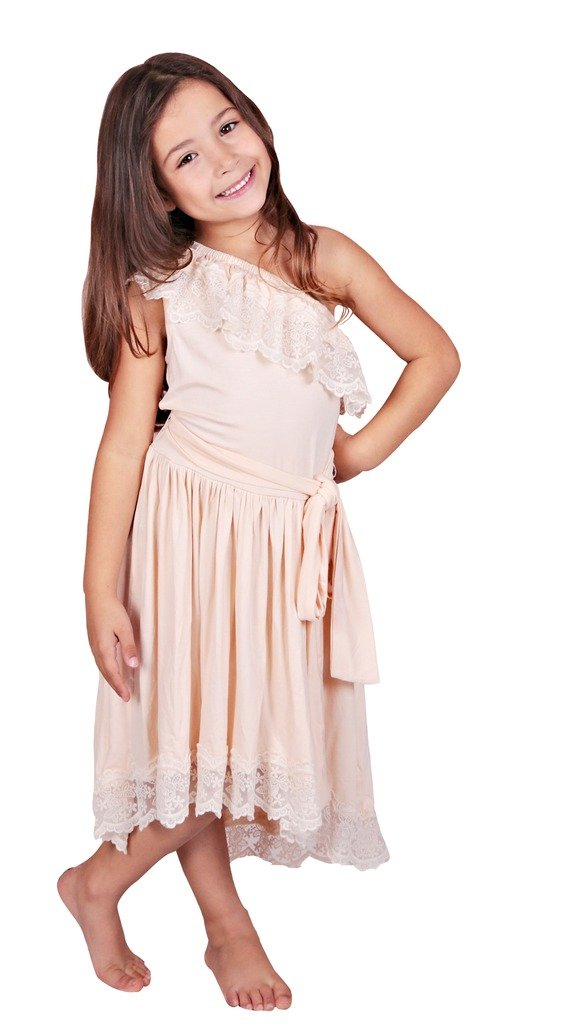 Bow Dream Flower Girl's Dress Vintage Lace One Shoulder Cream Ivory 8