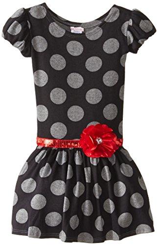 Youngland Little Girls' Dot Print Puff Sleeve Dress, Multi, 6X