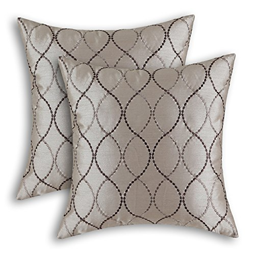 CaliTime Pack of 2 Cushion Covers Throw Pillow Cases Shells for Home Sofa Couch Modern Waves Lines Embroidered 18 X 18 Inches Taupe