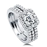 BERRICLE Rhodium Plated Sterling Silver Cubic Zirconia CZ Halo Engagement Insert Ring Set Size 8.5