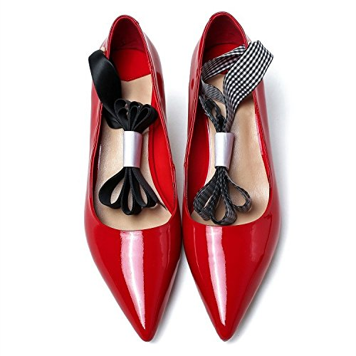Talons Chaussures De Straps Véritable Cross Cuir Chaussures Travail Mouth Shallow à Pointu Red MUYII Femmes 0I70w