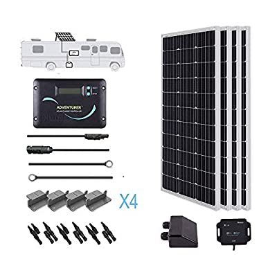 RENOGY 12 Volts Monocrystalline Solar RV Kit - with Adventurer Solar Charge Controller