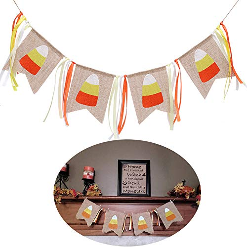 BUSOHA Jute Burlap Banner, Happy Fall Decorations Harvest Candy Corn Banner Thanksgiving Day Halloween Fireplace Mantel -