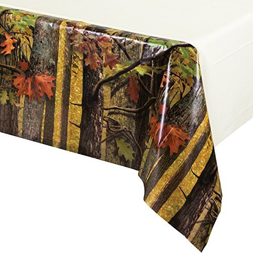 Camouflage Table Cover Plastic (Creative Converting Solid Plastic Banquet Table Cover with Border Print, Hunting Camo)