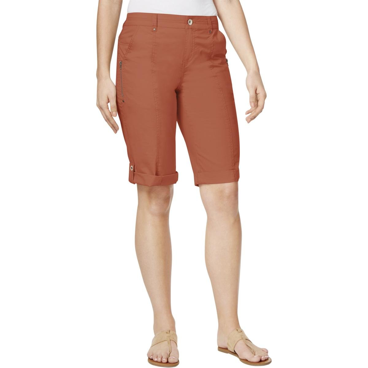 Style & Co.. Womens Petites Mid-Rise Cuffed Bermuda Shorts Red 4P