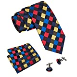 Barry.Wang Mens Ties Tartan Plaid Tie Set with Hanky Cufflinks Classic