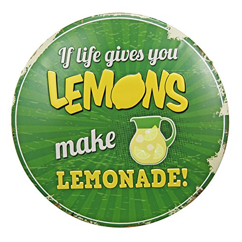 NEW DECO Tin Sign Saying Proverb-If Life Give You Lemons Make Lemonade Beer Round Metal Tin Rustic retro Vintage Dia 12 Inches(30cm) - Round Metal Tin Sign