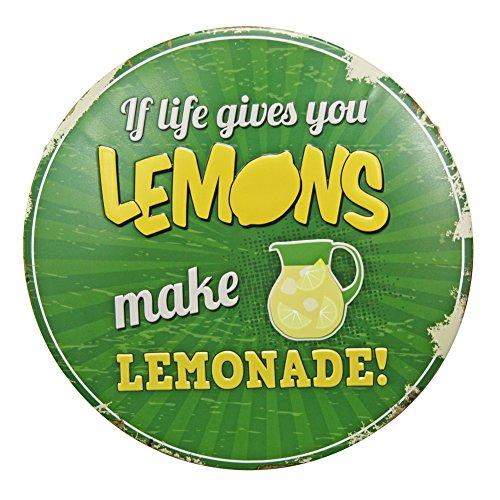 Lemons Lemonade - Lemon wall decor - green metal wall art