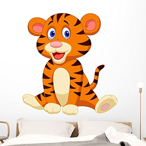 Wallmonkeys Cute Tiger Cartoon Wall Decal Peel and Stick Graphic (48 in H x 45 in W) WM287096