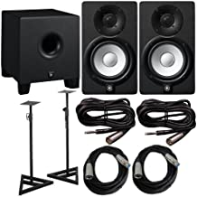 Yamaha HS Series HS5 2 Way Bass Reflex Biamplified Nearfield Studio Monitor in Black (Pair) with Bass-Reflex Powered Subwoofer, Studio Moniotors Stands (Pair), 2 XLR(M) Cables and 2 Microphone Cables