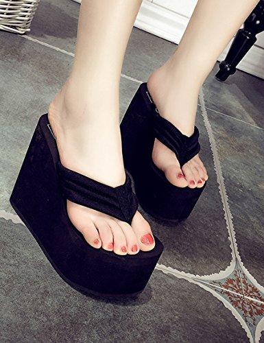 Sommer super hoch mit dem Wort ziehen Weibliche Mode dicke Pantoffeln Wasserdichte Tisch rutschfeste Hausschuhe ( Farbe : C , größe : EU39/UK6.0/CN39 ) C