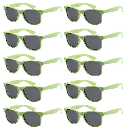 WHOLESALE UNISEX 80'S RETRO STYLE BULK LOT PROMOTIONAL SUNGLASSES - 10 PACK (Cool Mint / Smoke, 52 - Mint Sunglasses Wayfarer