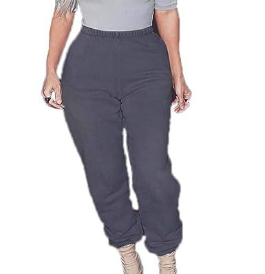 Pantalones de chándal de Felpa para Mujer Street Fashion Solid ...