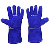 Welding Gloves Lined Leather, Blue - Suitable For Mig, Tig Welders, BBQ, Gardening, Camping, Stove, Fireplace and More (14-inch)
