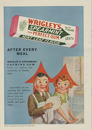 1930-ad-wrigleys-spearmint-chewing-gum-spears-couple-logo-husband-wife-wash-dishes-original-print-ad
