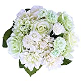 Silk Flower Artificial Rose Dahlia Daisy Flower Bouquet Bride Wedding Holding Flowers For Home Hotel Party Garden Art Decor 8 Pcs (Green)