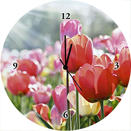 Artland Qualitätsuhren I Funk Wanduhr Designer Uhr Glas Funkuhr Größe: 35 Ø Blumen Tulpe Pink Rosa F1JV