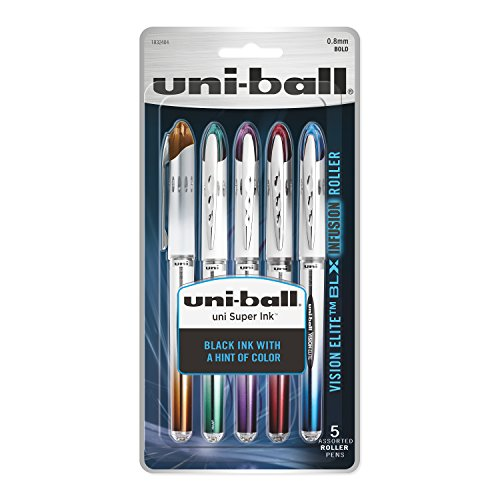 (uni-ball Vision Elite BLX Infusion Rollerball Pens, Bold Point (0.8mm), Assorted Colors, 5 Count)