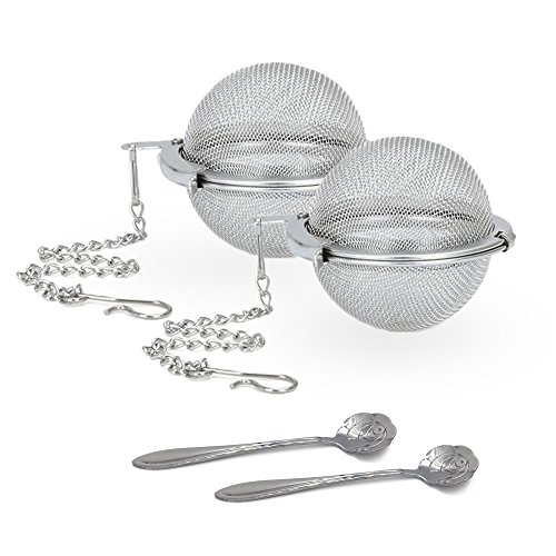 Cloudyfocus Mesh Tea Ball Strainers & Tea Scoop - 2pcs, Stainless Steel Tea Filters Loose Leaf Tea Infuser Strainers Interval Diffuser for Tea - 2.1 Inch