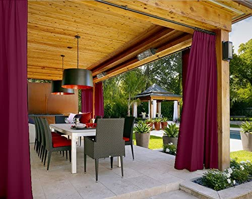 Outdoor Curtain Burgundy 84 W x 102 L Pinch Pleated for Track or Traverse Rod with Ring,at Front Porch, Pergola, Cabana, Covered Patio, Gazebo, Dock, and Beach Home.