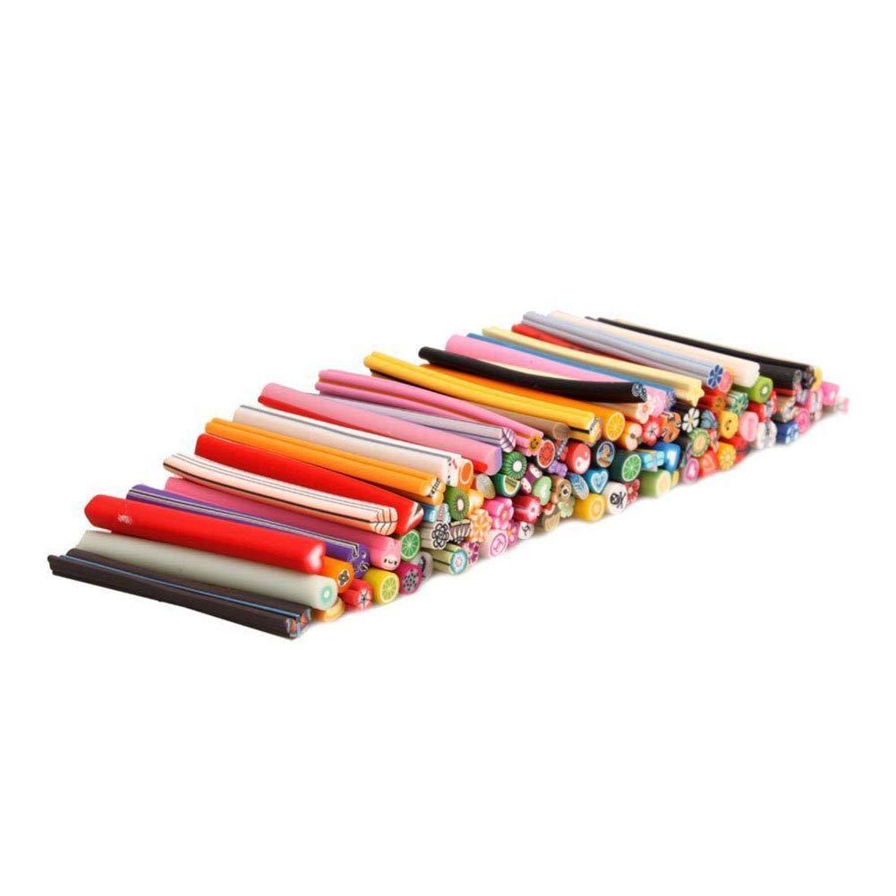 Sungpunet Mignon Fruit 3D Fimo Canes Rods argile polymère autocollants manucure nail art Outils de décoration Décoration aléatoire style 100Pcs Facile à Pratique