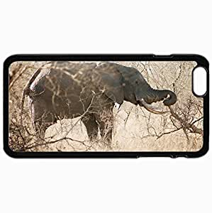 Customized Cellphone Case Back Cover For iPhone 6 Plus, Protective Hardshell Case Personalized Elephant Black