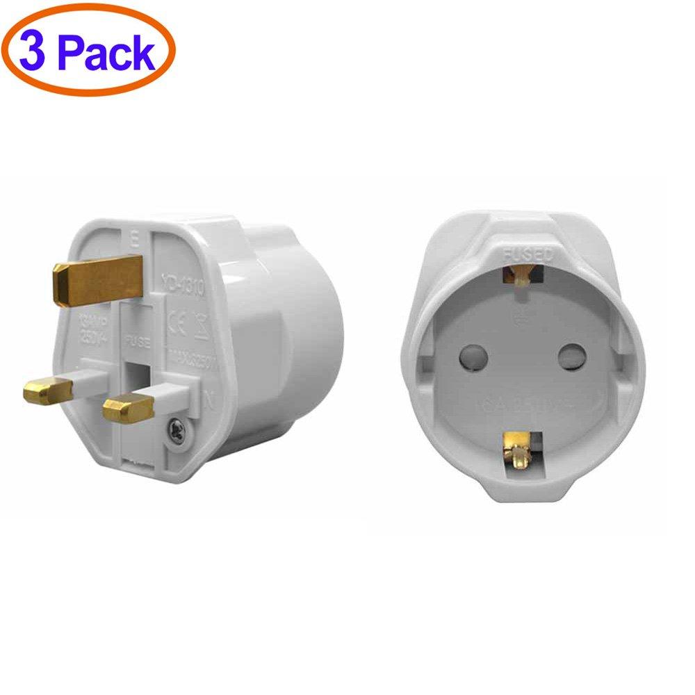YuaDon Schuko Style Socket EU Europe European 2-Pin to UK 3-Pin Travel Adapter White Plug,Pack of 3