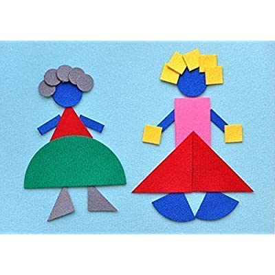CubbyHole Geometric Flannel Board with Felt Figures - Interactive Flannel Board Story Set - The Morning Town …: Toys & Games