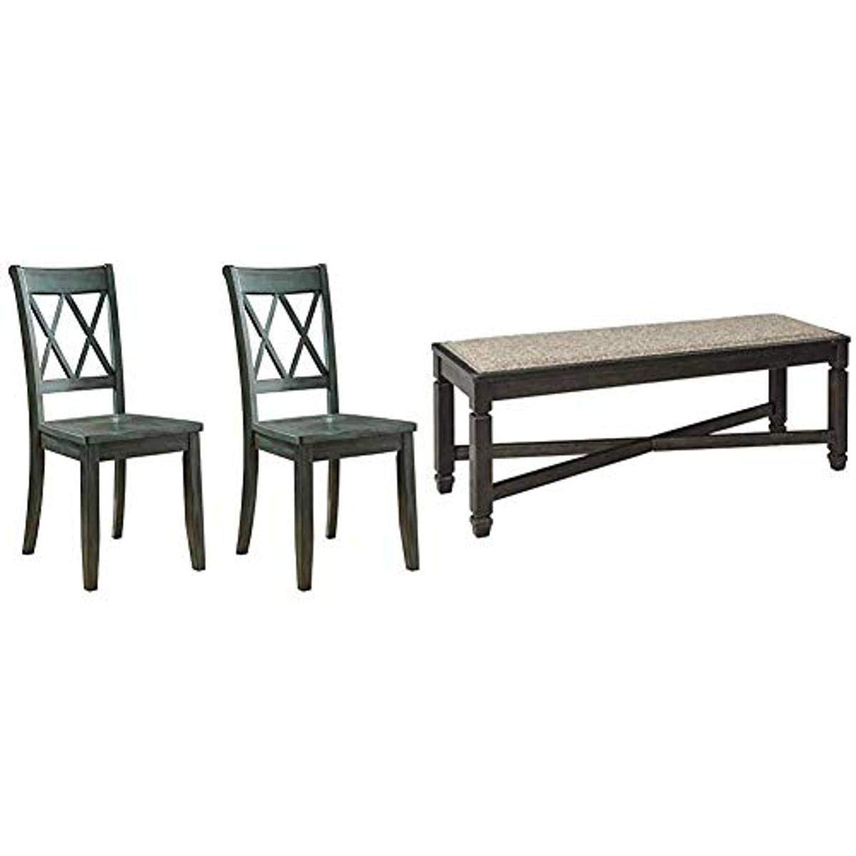 Ashley Furniture Signature Design - Mestler Dining Room Side Chair - Wood Seat - Set of 2 - Blue/Green & Tyler Creek Upholstered Dining Room Bench - Two-Tone - Textured Antique Black Finish