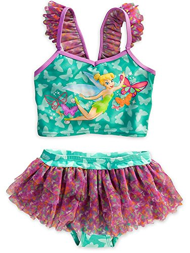 Disney Store Tinkerbell Tinker Bell Swimsuit: Deluxe 2-Piece L Large 9 - 10 (Tinkerbell Bathing Suit)
