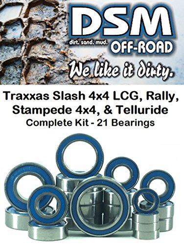 Bearings One Set (Traxxas Slash 4x4 LCG, Stampede 4x4, 1/10 Rally, Telluride Bearing kit Set (21 Bearings) DSM Off-Road)