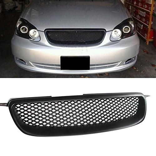Audrfi Fit 03-08 Toyota Corolla CE/LE/S JDM Blk Badgeless Sport Mesh Front Hood Grille (2005 Toyota Corolla Front Grill compare prices)