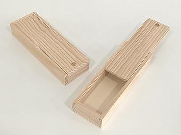 Caja plumier madera. En crudo, para decorar. En pino macizo. Para decoración y manualidades.: Amazon.es: Hogar