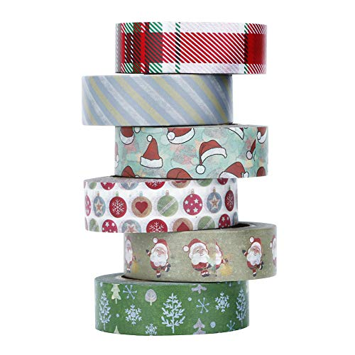 Christmas Washi Tape Set, 6 Rolls Art Craft Gift Present Wrap Collections Masking Foil Holiday Tapes for DIY, Scrapbooking and Xmas Gift Wrapping, Total 198ft ()