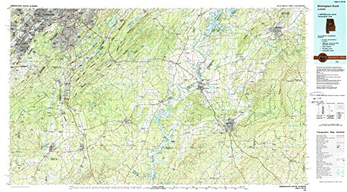 Birmingham South AL topo map, 1:100000 scale, 30 X 60 Minute, Historical, 1984, updated 1988, 23.9 x 43.1 IN - - Summit Birmingham