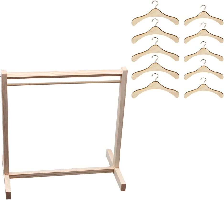 CUTICATE 1/4 1/6 Scale Dolls Wood Garment Rack with 10pcs Hangers, Coat Dress Clothes Organizer for Blythe BJD SD Doffie DOD Ball Jointed Doll