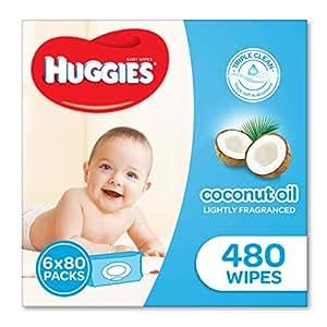 Huggies Coconut Baby Wipes Bundle Pack (Pack of 480), (2*3*80 Pack), Packaging may vary
