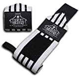 """Bear Grips: Gray Series, White Series wrist-wraps, extra-strength wrist support, wrist brace for workouts, wods (Colors: gray & white, Sizes: 12"""", 18"""", 24"""", Sold in pairs, two wrist straps per pack)"""