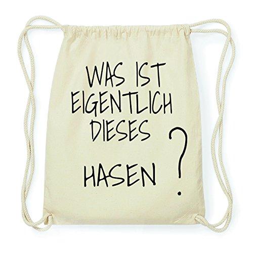 JOllify HASEN Hipster Turnbeutel Tasche Rucksack aus Baumwolle - Farbe: natur Design: Was ist eigentlich