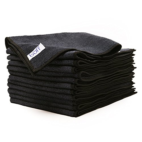 "Buff Pro Multi-Surface Microfiber Towel ? 12 Pack| Premium Cleaning Cloths | Dust, Scrub, Clean, Polish, Absorb | Large 16""x16"" (Black)"