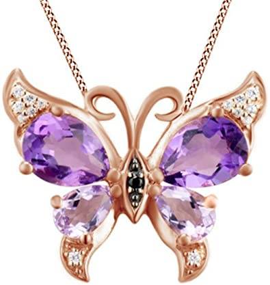 AFFY Cushion Shape Fashion Pendant Necklace in 14k Gold Over Sterling Silver with Simulated Amethyst /& White Natural Diamond Accents