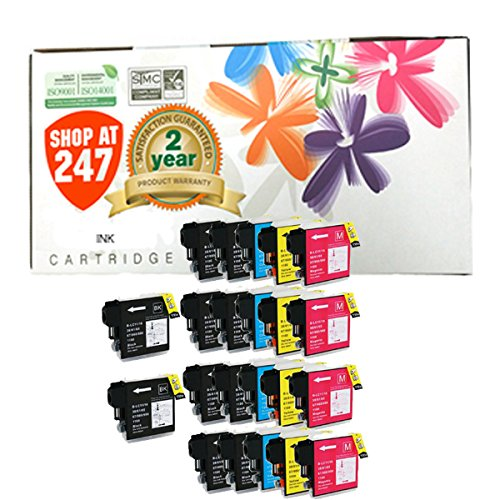 Shop At 247 ® Compatible Ink Cartridge Replacement for Brother High Yield LC65 (10 Black, 4 Cyan, 4 Yellow, 4 Magenta, 22-Pack)