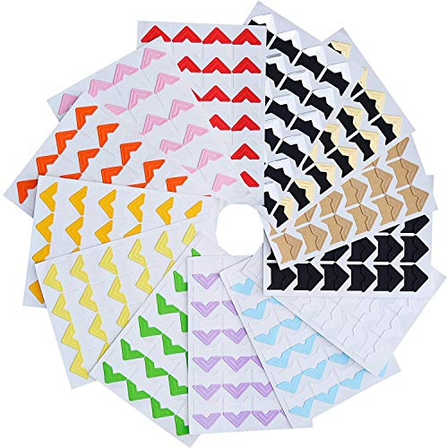Kbnian Photo Corners 312PCS Self Adhesive Photo Mounting Protector with Squares Multicolored Photo Paper Holder for Scrapbooking Album Dairy Journal ()