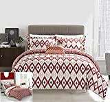 Chic Home 4 Piece Normani Reversible Ikat Diamond and Contemporary Geometric Pattern Print Technique Queen Duvet Cover Set Brick