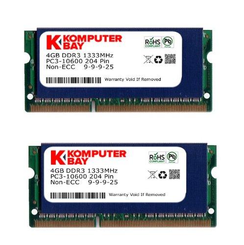 Komputerbay 8GB (2x 4GB) DDR3 SODIMM (204 pin) 1333Mhz PC3 10600 for Apple 8 ... 10600 Dual Channel