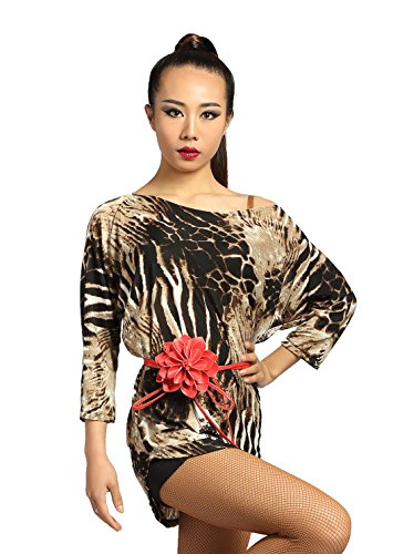 G1015 Latin Ballroom Dance Professional Batwing Sleeve Inclined Shoulder and Irregular Design Tops ((FBA) Stone-Color, - Ballroom Top