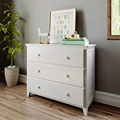 Bedroom Max & Lily Solid Wood 3-Drawer Dresser, White
