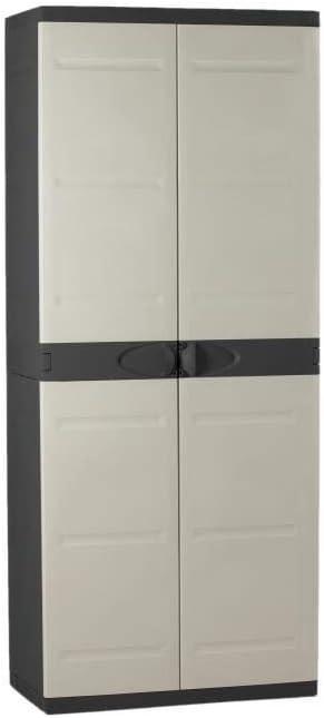 TITANIUM PLASTIKEN Armoire haute 2 portes avec étageres - 70 x 44 x 176 cm - Beige et Noir - Gamme TITANIUM - Intérieur et Extérieur