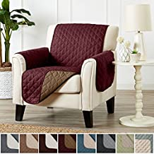 Deluxe Reversible Quilted Furniture Protector and PET PROTECTOR. Two Fresh Looks in One. Perfect for Families with Pets and Kids. By Home Fashion Designs Brand. (Chair - Burgundy / Taupe)
