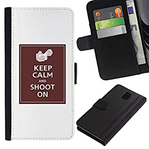KingStore / Leather Etui en cuir / Samsung Galaxy Note 3 III / Cámara calma Foto Clean blanca minimalista